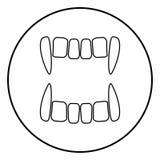 Wampira ` s teeths ikony czerni kolor w okręgu round Zdjęcia Stock