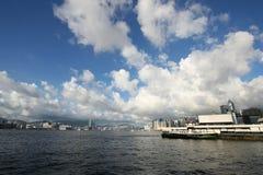 Wan Chai Ferry Pier and Victoria Harbor, Hong Kong royalty free stock photos