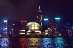Wan Chai skyscrapers and Hong Kong Convention and Exhibition Centre Royalty Free Stock Photography