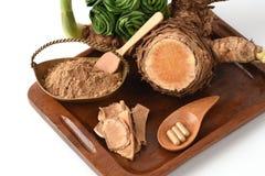 Wan-chak-mot-luk (Thai name) (Curcuma xanthorrhiza Roxb.) Stalks, dried and powdered. Royalty Free Stock Images