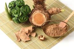 Wan-chak-mot-luk (Thai name) (Curcuma xanthorrhiza Roxb.) Stalks, dried and powdered. Royalty Free Stock Photography