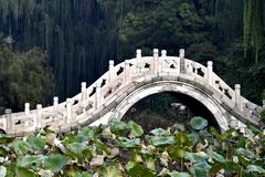 Chinese Hebei Baoding ancient lotus pond Wan Hongqiao. Wan Hongqiao is according to shape period palace was rebuilt in 1975, made of white marble. The arc, tall royalty free stock photography