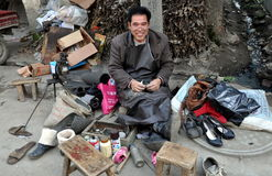 Wan Jia, China: Street Cobbler Stock Photography