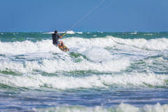 Wan riding kite surf on sea waves Royalty Free Stock Photography