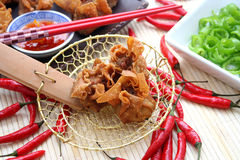 Wan tan. Some asian wan tans with chili-sauce and paprika Stock Image