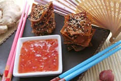 Wan Tan Cockies With Chillisauce Stock Images