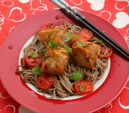 Wan Tan. Some asian wan tan filled with meat with somen noodles Royalty Free Stock Images