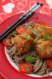 Wan Tan. Some asian wan tan filled with meat with somen noodles Royalty Free Stock Photography