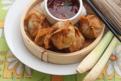 Wan Tan. Some asian wan tan filled with pork meat stock photos