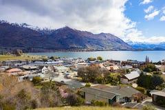 WANAKA NEW ZEALAND - SEPTEMBER 5,2015 : beautiful scenic of wanaka town from wanaka hill park stock photography