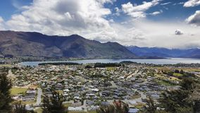 Aerial view of Wanaka town on New Zealand. royalty free stock photo