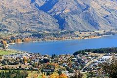 Wanaka,South Island New Zealand. Lake Wanaka with village in Autumn season in the South of New Zealand Stock Image