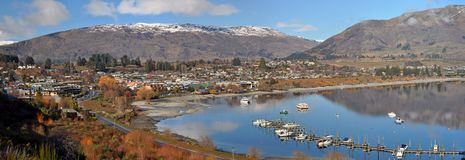 Wanaka Township Panorama, New Zealand Royalty Free Stock Image
