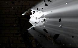 Wand-Bruch durch und Licht lizenzfreie stockbilder