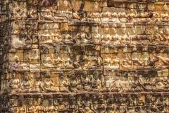 Wand Carvings in Angkor Wat Cambodia Lizenzfreies Stockfoto