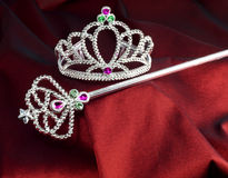 Wand and crown fairytale accessories Stock Images