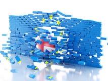 Wand der Europäischen Gemeinschaft 3d mit Großbritannien-Ball Brexit-Konzept Lizenzfreies Stockfoto