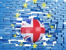 Wand der Europäischen Gemeinschaft 3d mit Großbritannien-Ball Brexit-Konzept Lizenzfreie Stockbilder