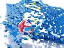 Wand der Europäischen Gemeinschaft 3d mit Großbritannien-Ball Brexit-Konzept Stockbilder