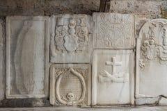 Wand der Kirche von Johannes in Mustair, UNESCO-Welt kulturell sie stockfotografie