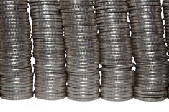 Wand der Münzen Stockbild