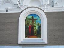 Wand der orthodoxen Kirche Stockfotos