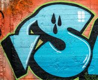 Wand der Straßen-Art Bunte Graffiti auf der Wand Lizenzfreies Stockfoto