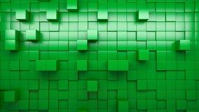 Wand der Wiedergabe 3d von verdrängten Würfeln stock footage