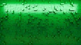 Wand der Wiedergabe 3d von verdrängten Würfeln stock video