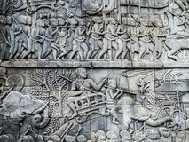 Wand des alten Angkor-Tempels stockfotos