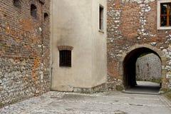 Wand des Benediktinerklosters - Tyniec Polen. Stockfoto