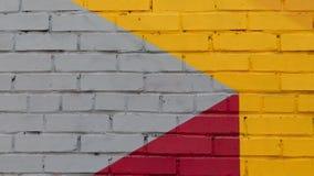 Wand des gemalten Ziegelsteines stockbild