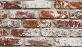 Wand des roten Backsteins mit weißer Farbe Stockfotografie