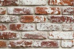 Wand des roten Backsteins mit weißer Farbe Lizenzfreies Stockbild