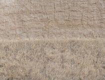 Wand des Schlamm- und Grasbeschaffenheitshintergrundes Stockfotos
