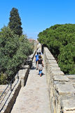 Wand des Schlosses von Sao Jorge stockfotos