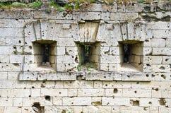 Wand am Eingang zur Festung Kerch Stockbild