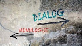Wand-Graffiti, zum gegen Monolog zu dialogieren stockbilder
