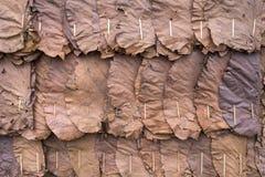 Wand hergestellt von den trockenen Blättern Stockfoto
