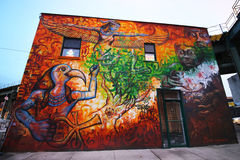 Wand- Kunst in Ost-Williamsburg in Brooklyn Stockbilder