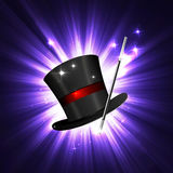 Wand and magical hat. Background glowing wand and magical hat Stock Image