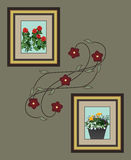 Wand mit Blumen-Kunst lizenzfreie abbildung