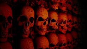 Wand mit den Schädeln stock video