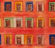 Wand mit nahtlosem Muster der Fenster Lizenzfreies Stockbild