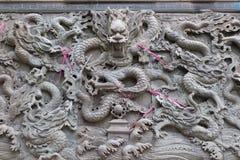 Wand mit neun Drachen im Tempel Lizenzfreie Stockfotografie