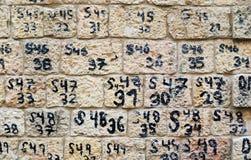 Wand mit Zahlen Lizenzfreie Stockbilder
