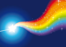 Wand rainbow sparkles blue 2 Stock Image
