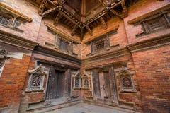Wand in Stadtstadt Lalitpur, historisch dubar squ Patan lizenzfreies stockfoto