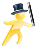 Wand and top hat magician. Illustration of a magician wearing a top hat and waving a wand Royalty Free Stock Photo