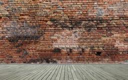 Wand und Bretterboden des roten Backsteins Stockfotografie